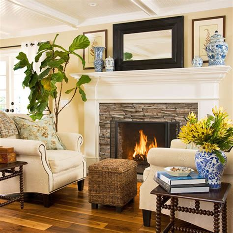 seating in front of fireplace fireplace seating cottage living room bhg