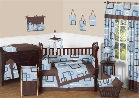 Brown And Blue Crib Bedding Blue And Brown Geo Modern Baby Bedding 9 Pc Crib Set Only 149 99