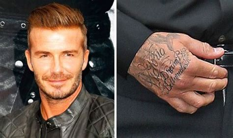 david beckham hand tattoo david beckham shows new z lyric his