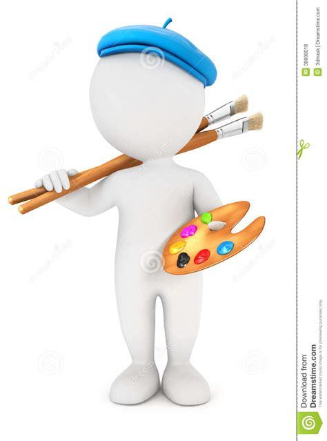 painter free 3d white artist painter stock illustration