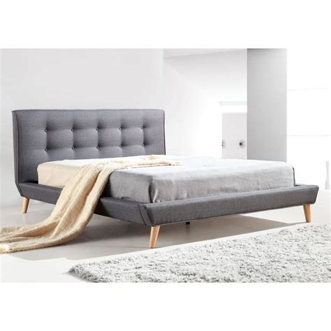 button bed frame double linen fabric button tufted bed frame in grey buy