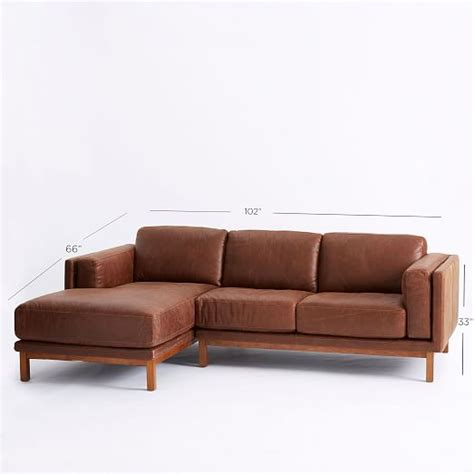 Leather 2 Sectional by Dekalb Leather 2 Chaise Sectional West Elm