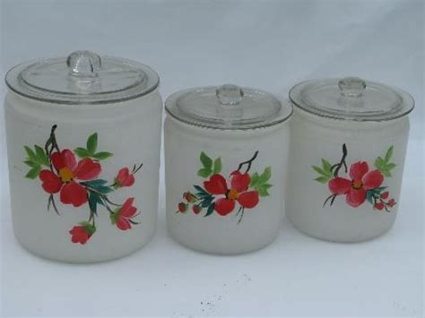 red glass kitchen canisters gay fad hand painted vintage glass kitchen canister jars