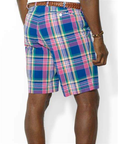 lyst polo ralph big and plaid shorts in blue