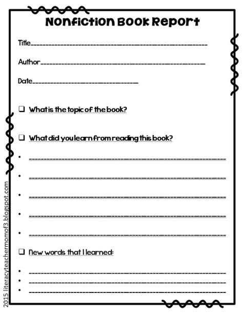 elementary book report form of 3 nonfiction book report alternative