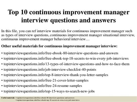 Job Interview Resume Questions by Top 10 Continuous Improvement Manager Interview Questions