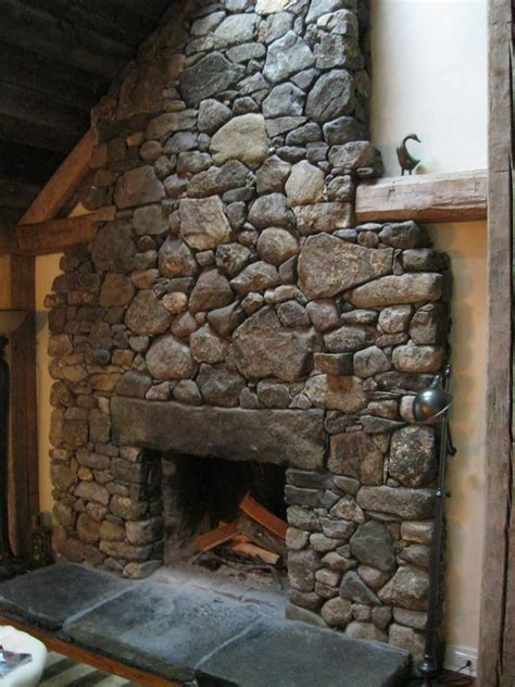 fieldstone fireplace home decoration