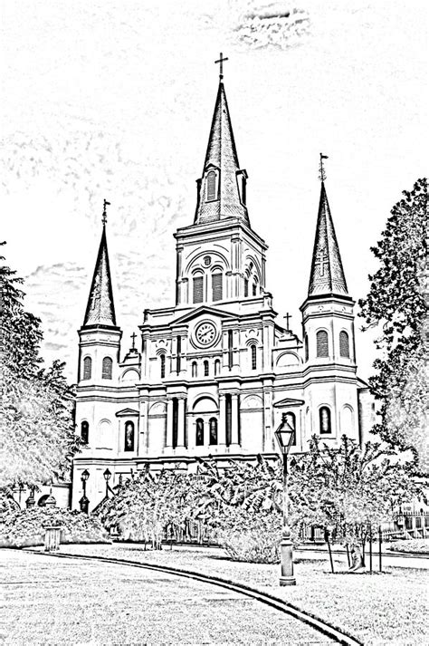 french quarter coloring page st louis cathedral jackson square french quarter new