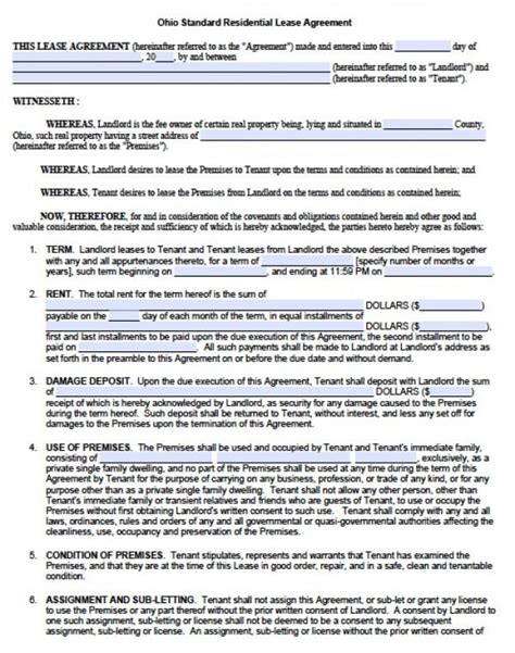 housing lease template free ohio residential lease agreement pdf word doc