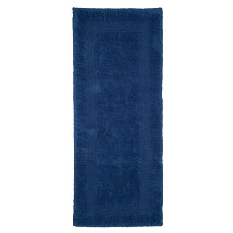 extra long bathroom runner rugs lavish home navy 2 ft x 5 ft cotton reversible extra