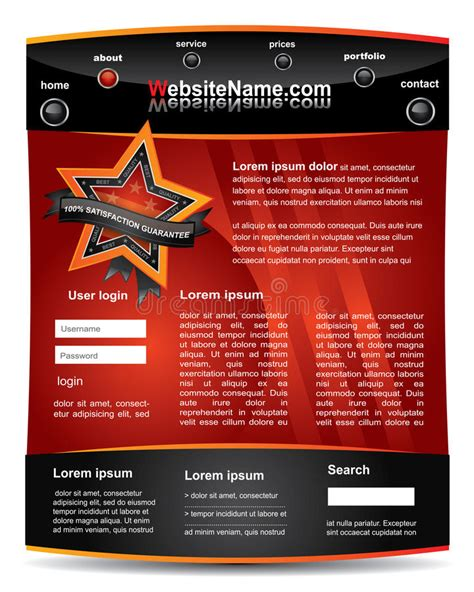 Red And Black Editable Website Template Stock Vector Image 19296279 Copyright Free Website Templates