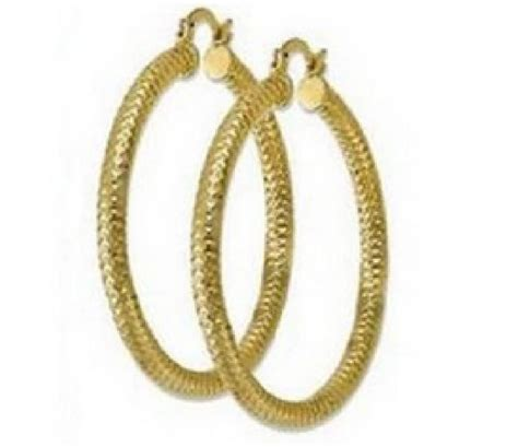Pattern Of Gold Earring | 9ct gold filled round hoop earrings with diamond cut
