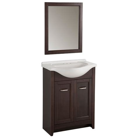 glacier bay bathroom vanities glacier bay 25 inch w vanity in chocolate finish with porcelain top in white and mirror the