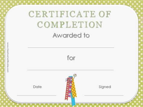 template of certificate of completion free certificate of completion template