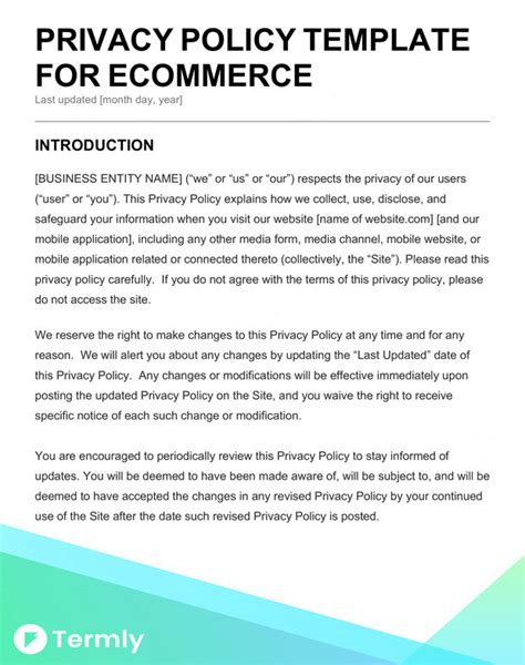 privacy policy template ecommerce free privacy policy templates website mobile fb app