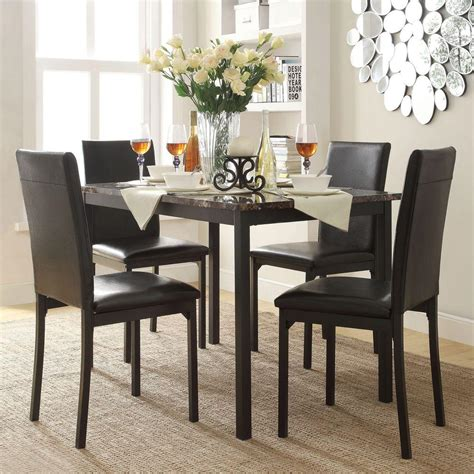 Dining Room Furniture Set 5 Pc Black Leather 4 Person Table And Chairs Brown Dining Room Sets 5pc Picture