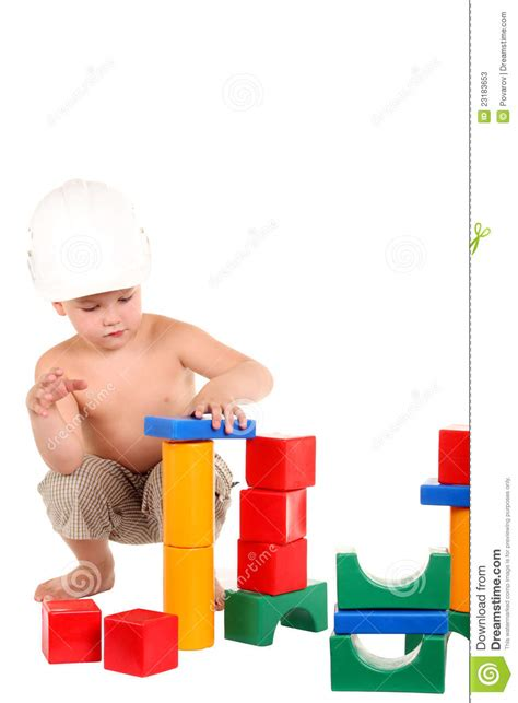 house of boys little boy builds a house of toys stock image image 23183653