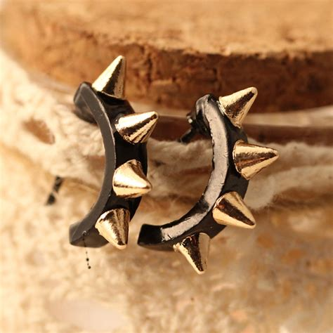 how to make metal sted jewelry light rock rivet metal personality stud earrings