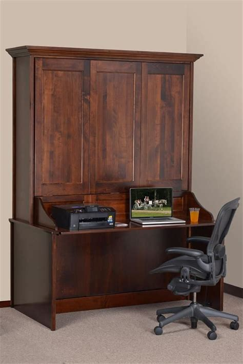 amish vertical wall murphy bed with desk