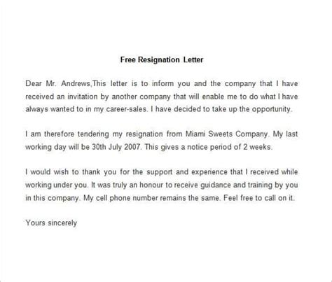 free sle letter of resignation template resignation letter template 28 free word pdf documents
