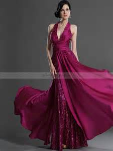 One Shoulder Draped Cocktail Dress Halter Deep V Neck Full Length Lace And Chiffon Evening Dress
