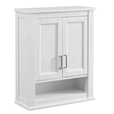 bathroom wall storage shop living durham 24 in w x 30 in h x 10 in d white bathroom wall cabinet at lowes