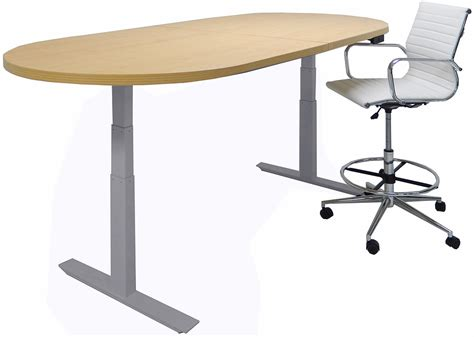 White Oval Meeting Table Adjustable Electric Lift 8 Conference Table Rectangular