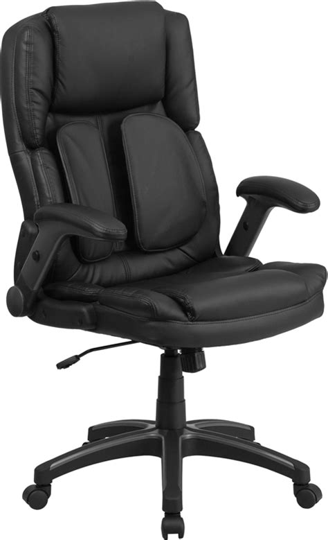 high  black leather executive swivel office chair  flip  arms