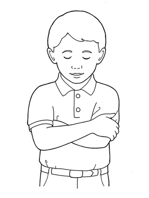 boy head coloring page primary boy folding arms and bowing head