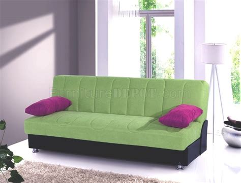 green microfiber couch leon sofa bed convertible in green microfiber by rain