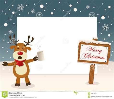 christmas frame sign drunk reindeer vector illustration cartoondealercom