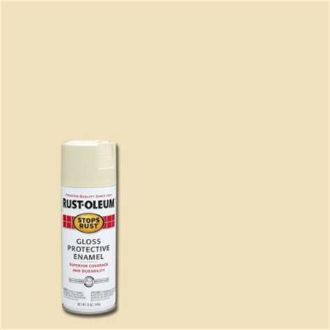 rust oleum stops rust 12 oz protective enamel gloss almond spray paint 7770830 the home depot
