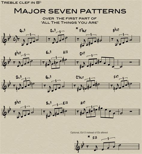 pattern jazz trombone lesson maj7 and maj7 5 patterns in jazz