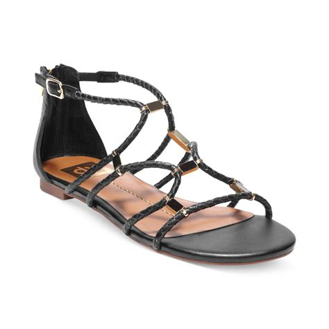 black sandals dolce vita dv by agate strappy flat sandals in black lyst
