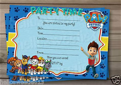 1 10 Paw Patrol Inspired Birthday Party Invitations Or Thank You Cards Ebay Paw Patrol Invitation Template Blank