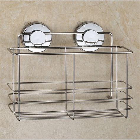 Bathroom Shower Shelves Stainless Steel Stainless Steel Non Rust Bathroom Shower Shelf Storage Suction Basket Caddy Silver In Bathroom