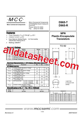 transistor d965 equivalente d965 r datasheet pdf micro commercial components