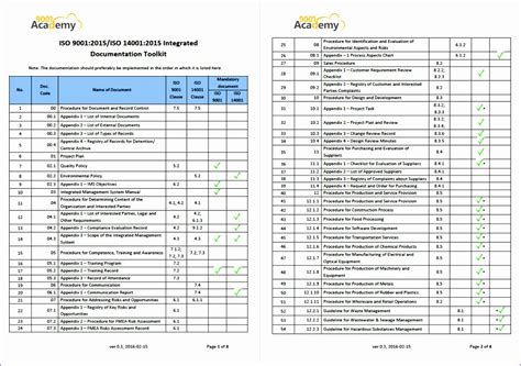 iso 9001 checklist excel template gallery templates