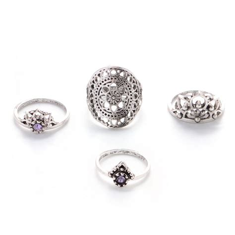 Carved Flower Rings 4 by 4 Pcs Set Vintage Ethnic Bohemian Knuckle Ring
