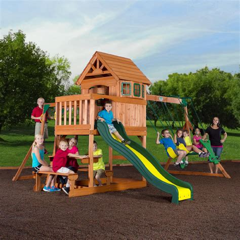 out door swing set backyard discovery springboro wood swing set