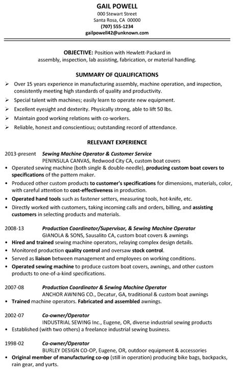 Resume Sample: Assembly, Inspection, Fabrication