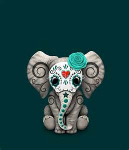 Wolf Wall Mural quot teal blue day of the dead sugar skull baby elephant