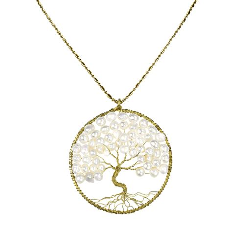 Gemstone Home Decor white pearl eternal tree of life brass long necklace