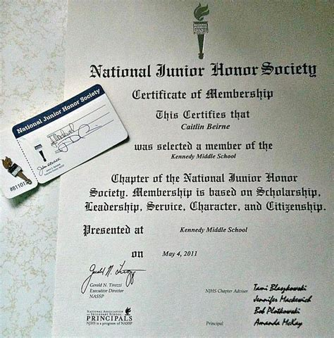 national honor society certificate template academics caitlin beirne s portfolio