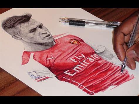 alexis sanchez drawing pen drawing of alexis sanchez arsenal fc freehand art