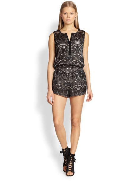www short twelfth street cynthia vincent lace short jumpsuit in