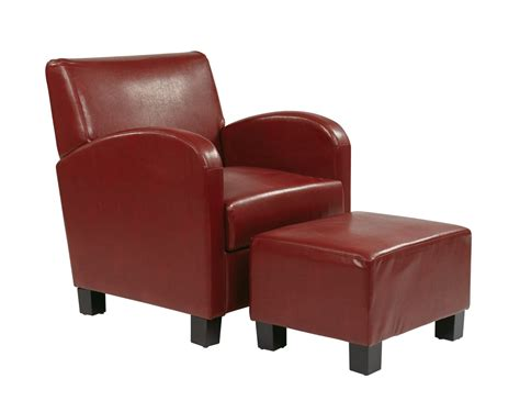 crimson faux leather club chair with ottoman