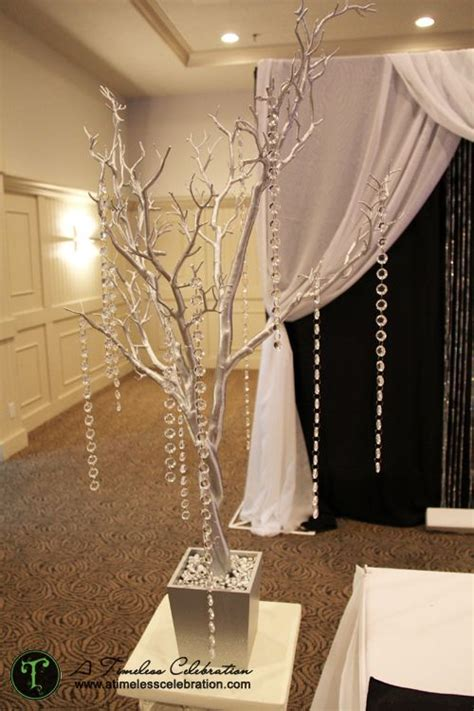 silver tree centerpiece silver tree with hanging acrylic crystals wedding