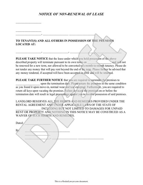 Landlord S Notice Of Non Renewal Of Lease To Tenants With Notice Of Nonrenewal Of Lease By Landlord Template