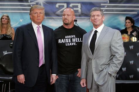 trumpmania vince mcmahon and the of america s 45th president books steve praises donald for taking a bump at